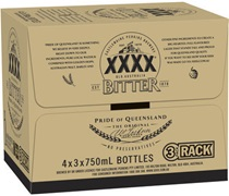 XXXX Bitter Rack Pack Bottle 750mL